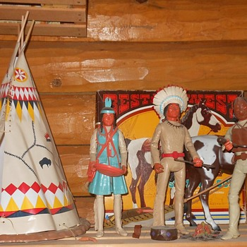 Marx Johnny West Teepee and Indians - Toys