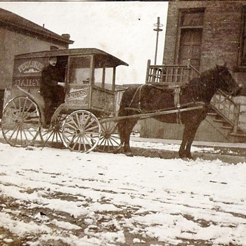 Old Horse Drawn Milk wagon and truck from hometown . Remember Milk delivery :-) - Bottles