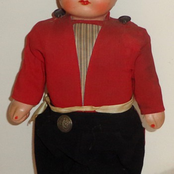 Antique Composition ,Tin, Wood & Cloth Walking Doll - Dolls
