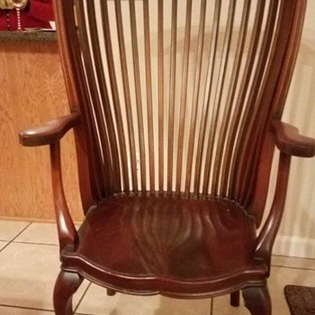 Very tall barrel back antique chair