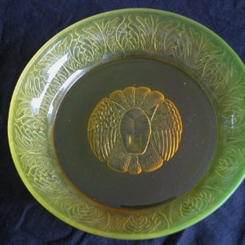 Reijmyre Sweden artdeco vaseline lion head dish - Art Glass