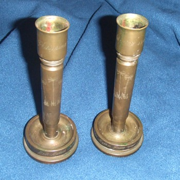 WW2 trench art candlesticks