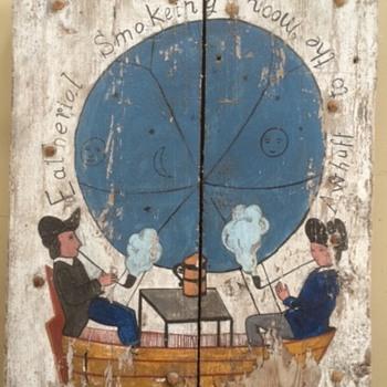 "Folk Art Painting on Wide Board Planks ""Awhuff to the Moon"" - Folk Art"