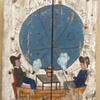 "Folk Art Painting on Wide Board Planks ""Awhuff to the Moon"""