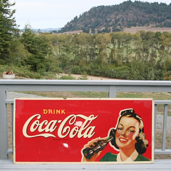 Coca Cola masonite sign - Coca-Cola