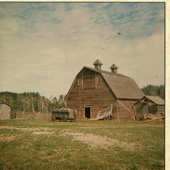 Old Family Barn in Saskatchewan and wagon