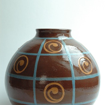 art deco pottery vase by JEAN GARILLON, soufflenheim - Art Deco