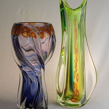 Multi Glass vases with millefiori -part 2
