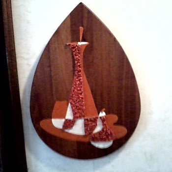 "Walnut Tear Drop ""Popcorn Still Life"" Wall Plaques/ Illinois Moulding Co. & Belart Inc. Circa 1960 - Mid-Century Modern"