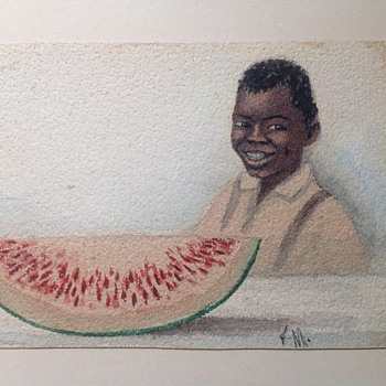 Watercolor of African American child and watermelon - Visual Art