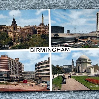 1968-birmingham-old postcard-stamped 1st april 68. - Postcards