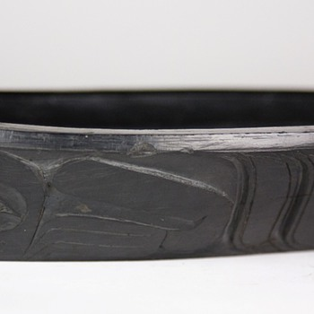 early Haida argillite canoe-shaped feast bowl