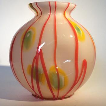 Kralik Lines and Canes Ball Vase - Art Glass