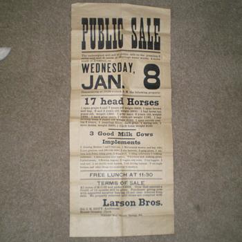 Public Sale Poster - Signs