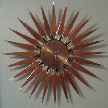 Mid Century Modern Seth Thomas Teak Sunburst Wall Clock - Mid Century Modern