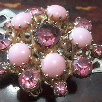 1950s pink milk glass brooch