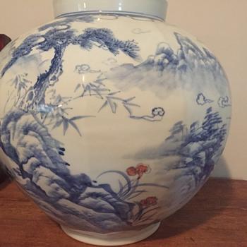 Large Korean blue, white vase signed - Asian