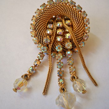 Circular Mesh & Rhinestone Dangle Brooch - Costume Jewelry