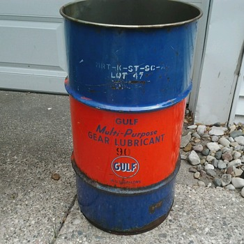 Gulf Lubricant 16 Gallon Drum - Petroliana