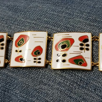 Mid-century modern enameled panel bracelet - Costume Jewelry