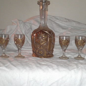 My great grandmothers Imperial glass decantur and shot glasses - Glassware