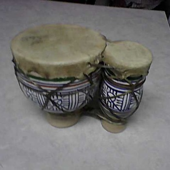 SKIN COVERED POTTERY DOUBLE DRUM - Folk Art