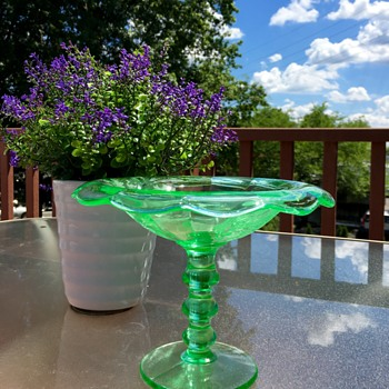 Green Paden City Depression Glass Compote - Glassware