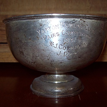 Silver Cup Trophy 1931 Yatton Bowling Club, awarded to W.J. Cornford and J. Day (pairs competion)