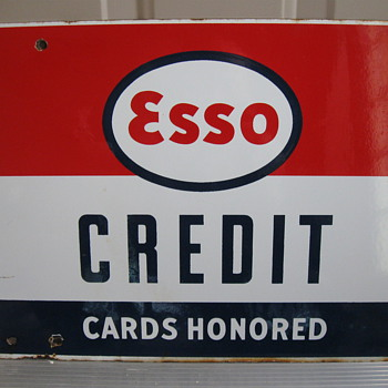 ESSO Credit card Porcelain sign - Petroliana