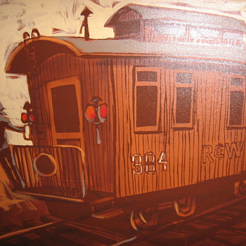 McCaine large oil painting of R and W #384  can some one identiy this for me, thank you! - Railroadiana
