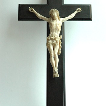 french victorian carved ivory crucifix.
