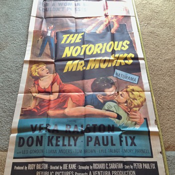 !950's Original Movie Poster,  The Notorious Mr. Monks - Movies