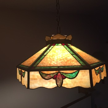 Antique stained glass hanging lamp - Lamps