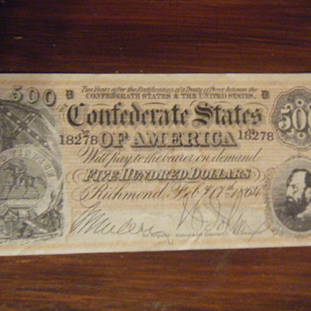 confederate  money - Military and Wartime