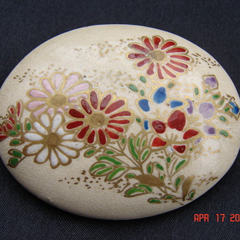 Ceramic Porcelein Asian Pin Brooches - Asian
