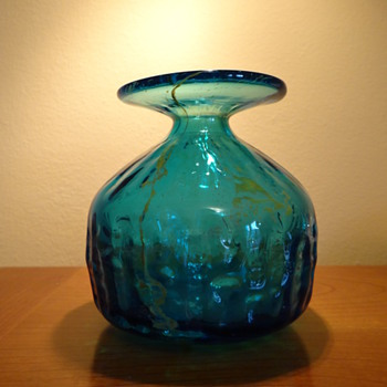 MDINA MALTA 4589 GLASS VASE  C. 1969 SIGNED
