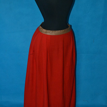 Exceptional 1800's Cherry Red Wool Petticoat slip! - Womens Clothing
