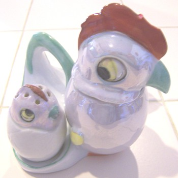 Big eyed lusterware bird condiment sets #2