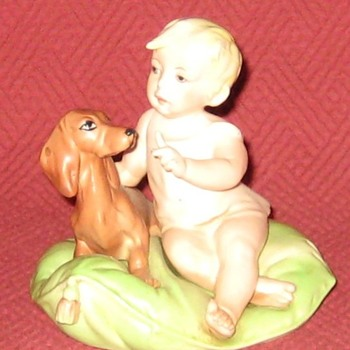 Little Friends (Child & Dachshund) Capodimonte by Giuseppe Cappé (Reproduction)