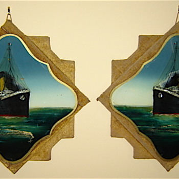 Titanic & Olympic pre-launch paintings on glass - Advertising