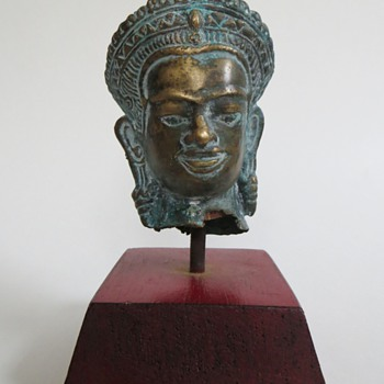 "ORIENTAL Bronze Head~From Larger Figure~4"" h~Great Patina,...Origin & Age? - Asian"