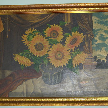 Jeanne Thil Sunflower,oil on hardboard,1943 - Visual Art