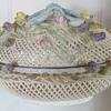 Belleek Four Strand Oval Covered Basket - 5th period