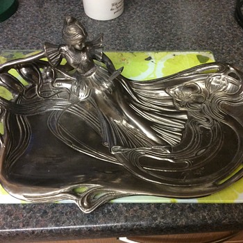 "Art Nouveau period lady looking into mirror large key/pin tray 15"" X 9"""