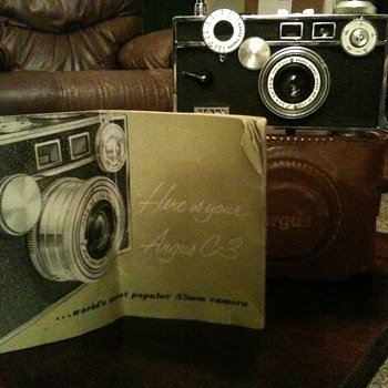 Argus C-3 camera with case and manual