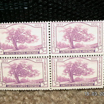 "1935 Connecticut Tercentenary ""The Charter Oak"" 3¢ Stamps - Stamps"