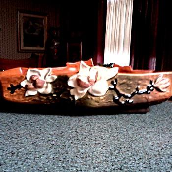 "Roseville Tangerine Console Bowl /Magnolia 451-12"" / Circa 1943 - Art Pottery"