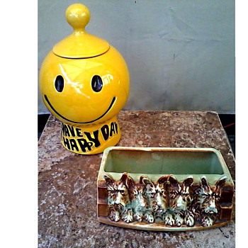 "McCoy ""Generations"" / ""Have A Happy Day Cookie Jar"" and ""Five Little Scotties"" Planter/ Circa 1970 and 1940 - Art Pottery"