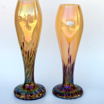 WELZ Iridescent Translucent Lines & Spots  - Art Glass