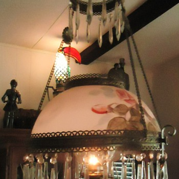 Granny's 1890 kerosene lamp, mom made electric in the 1940's, 2013 I changed back! And art deco lamp by me and more! - Lamps